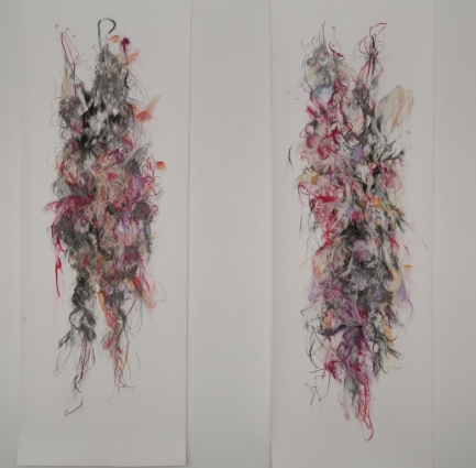 Two more female bodies 1 and 2 1800x 550mm each pastel pencil graphite on paper